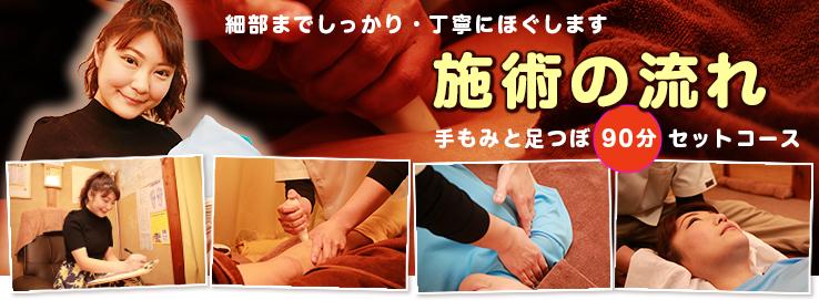 手もみと足もみセットコースの施術の流れ